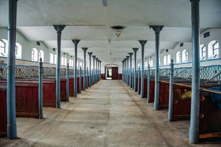 Inside old German stable or barn with horse boxes. 写真素材