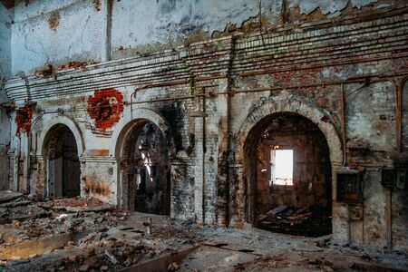Interior of old abandoned red brick industrial building