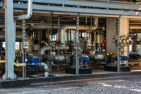Steel pipeline with pumps at petrochemical factory