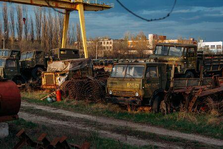 Rusty broken Russian military cars for scrap metal.