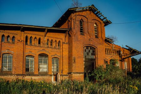 Abandoned Factory. Old Red brick industrial building Stok Fotoğraf