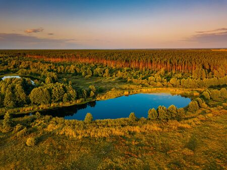 Rural landscape. Forest lake, aerial view from drone.