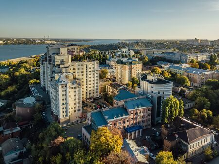 Sunny autumn Voronezh downtown, drone aerial view