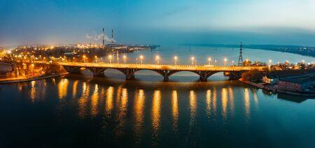 Evening autumn Voronezh. Vogresovsky bridge over Voronezh river, aerial view