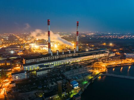 Voronezh thermal power plant at night. Aerial view from drone of large industrial area