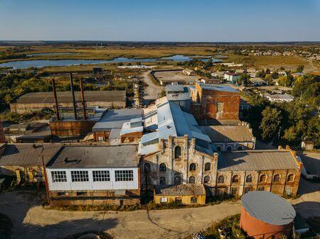 Old abandoned Sadovsky sugar factory in Voronezh region, aerial view