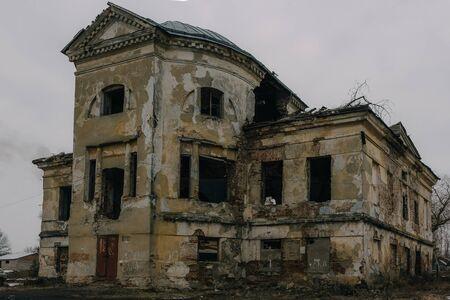 Dark and creepy old abandoned mansion. Gorozhanka, former Venevitinov manor, Voronezh Region.