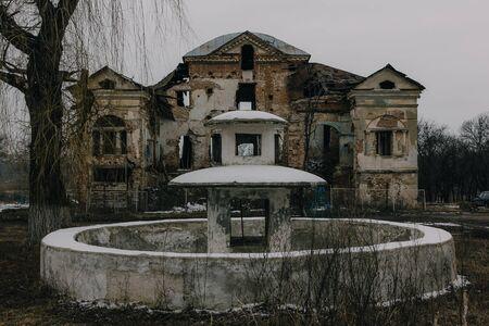 Dark and creepy old abandoned mansion. Gorozhanka, former Venevitinov manor, Voronezh Region