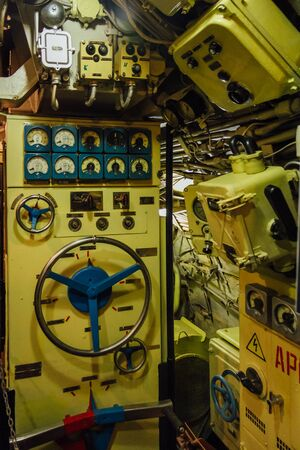 Dashboard, valves and appliances in old decommissioned Russian diesel submarine.
