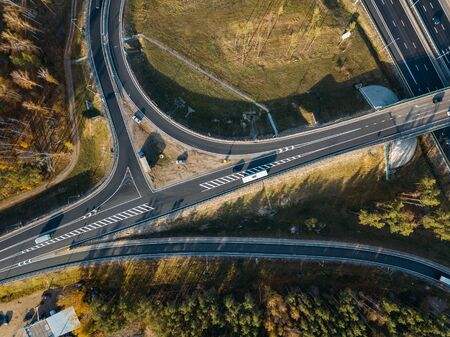 Transport junction in autumn day, aerial view from drone.