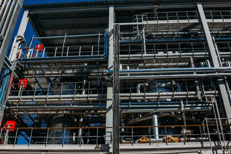 Chemical factory. Steel pipeline system for delivering components.