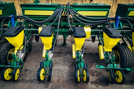 Agriculture machinery. Working parts of modern pneumatic agricultural seeder.