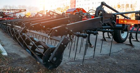 New modern agricultural combine harrow for tillage.