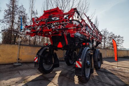 Working parts of new modern agricultural sprayer. Stock Photo