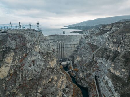Dam of Chirkey hydroelectric power plant in Dagestan, Russia.