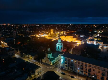 Ascension Cathedral at night, aerial view. Yelets, Lipetsk region Russia