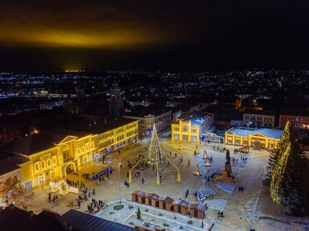 Traditional new year celebration in central square of Yelets, Russia, aerial view.
