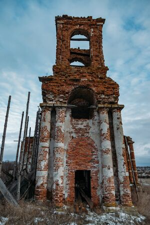 Ruined bell tower of abandoned church of St. Nicholas the Wonderworker in Upper Studenets, Lipetsk region, Russia.
