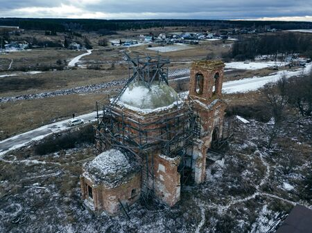 Abandoned church of St. Nicholas the Wonderworker in Upper Studenets, Lipetsk region, Russia. Zdjęcie Seryjne