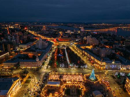 Street illumination during new year celebration in Voronezh, Russia, aerial view. Zdjęcie Seryjne