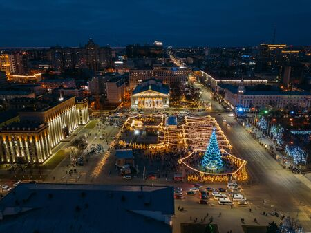 Street illumination during new year celebration in central square of Lenin in Voronezh, Russia, aerial view. Zdjęcie Seryjne