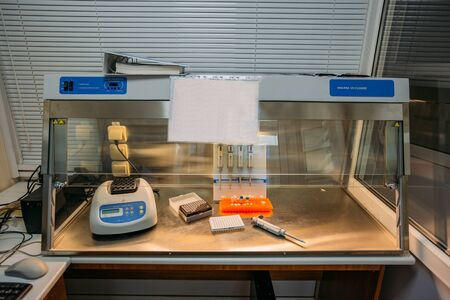 Laminar box with analytic equipment in laboratory