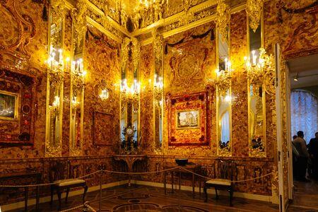 Catherine Palace, Interior of Amber room. St. Petersburg, Russia - Jan. 4 2014