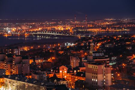 Night Voronezh downtown, aerial view from rooftop.