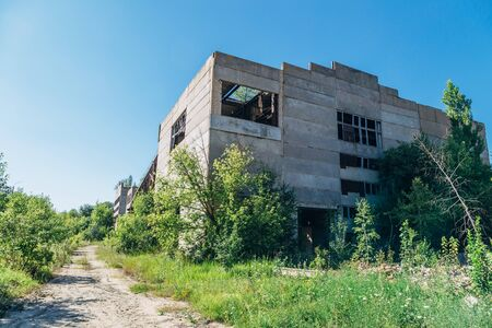 Old overgrown abandoned factory of reinforced concrete.
