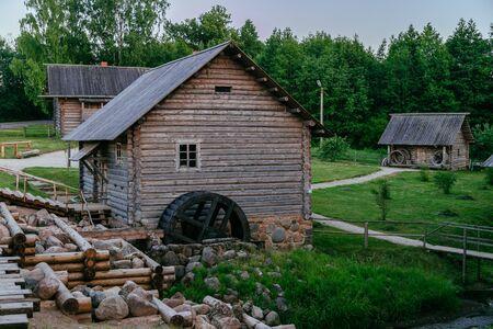 Old wooden watermill in Russian village Standard-Bild