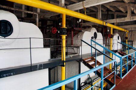 Inside the industrial boiler room. Heating equipment. Stok Fotoğraf