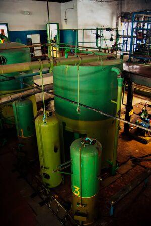 Inside the industrial boiler room. Water tanks.