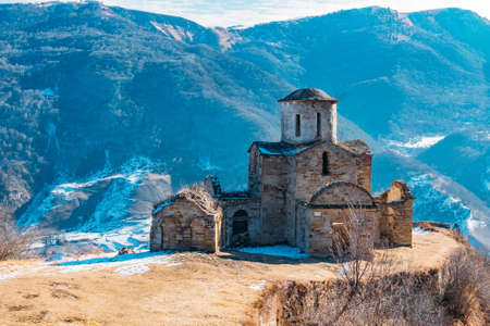 Old abandoned church in North Caucasian mountains.