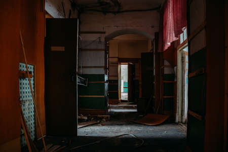 Inside old Orlovka Asylum for the insane in Voronezh Region. Dark creepy abandoned mental hospital Archivio Fotografico