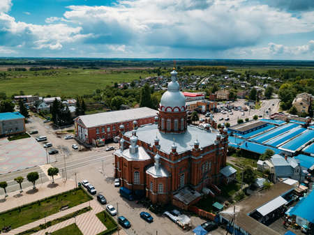 City of Oboyan, Kursk region, aerial view of Trinity Cathedral.