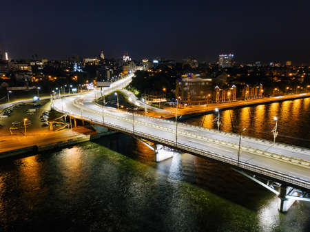 Night summer Voronezh, Chernavsky bridge and Massalitinov embankment, aerial view. Archivio Fotografico
