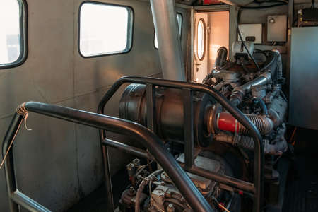 Diesel engine inside the train locomotive.