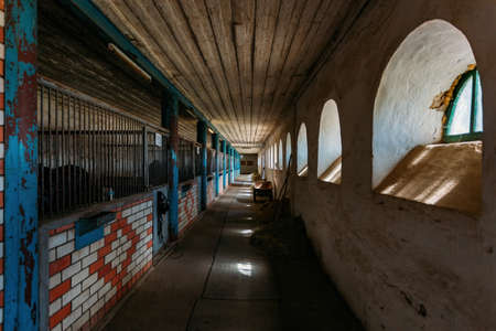 Old historical horse stable with loose horse boxes, tunnel view.