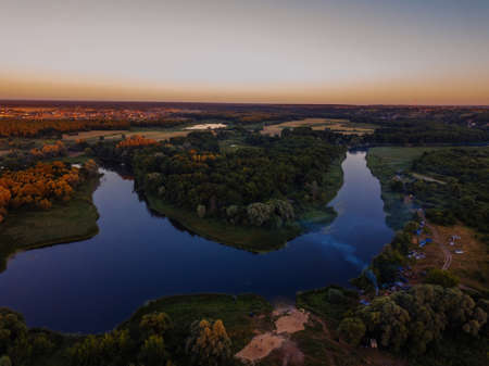 Aerial view of beautiful natural landscape. River Voronezh, Russia.