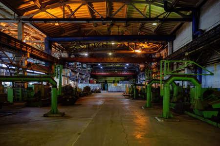 Metalworking workshop. Machine tools in pipe factory.