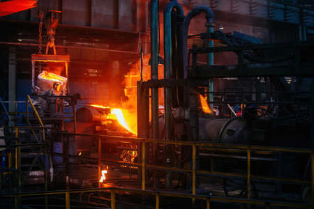 Metal processing in the foundry at the metallurgical plant.