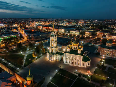 Tula Kremlin, aerial view from drone. Epiphany and Assumption Cathedrals.