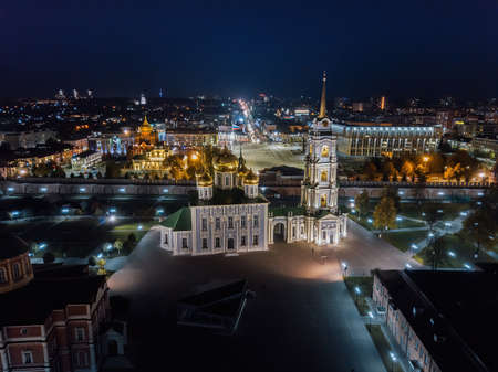 Tula Kremlin, aerial view from drone. Assumption Cathedral.