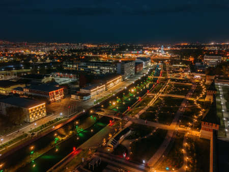 Tula embankment, promenade in the Park at night, aerial view from drone.