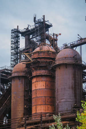 Blast furnace equipment of the metallurgical plant, close up view.