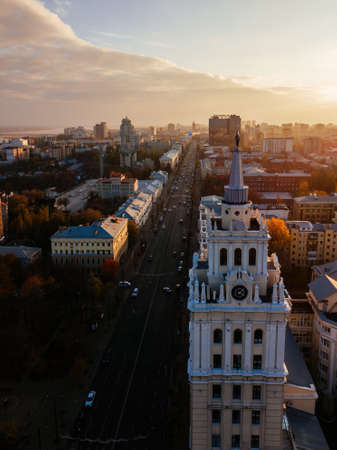 Evening autumn Voronezh, aerial view. Tower of management of south-east railway and Revolution prospect.