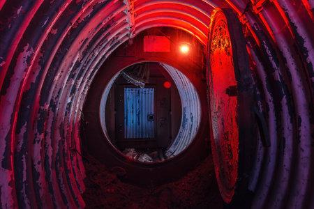 Dark abandoned Soviet bunker, echo of Cold War.