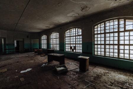Inside old Orlovka Asylum for the insane in Voronezh Region. Dark creepy abandoned mental hospital.