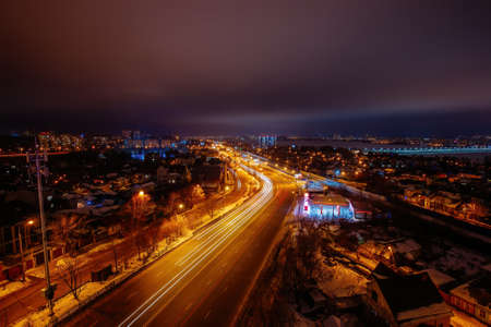 Night Voronezh cityscape. Aerial view from the roof.