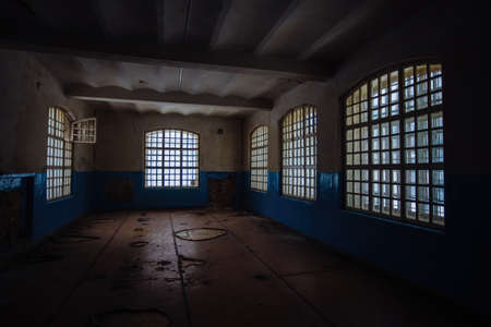 Inside old Orlovka Asylum for the insane in Voronezh Region. Dark creepy abandoned mental hospital.